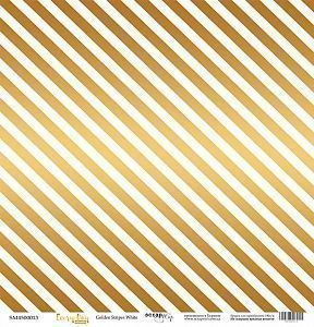 "Бумага с фольгированием Scrapmir ""Every Day Gold"", лист ""Golden Stripes White"", 30.5 х 30,5 см"